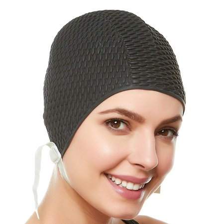 Beemo Swim Bathing Caps for Women or Girls Retro Style Latex Bubble Crepe Swimming Hat with Chin Strap for Long or Short Hair - Top Hat Hair