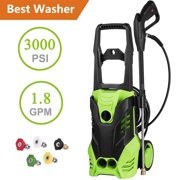 Hifashion 3000 PSI 1.8 GPM Electric Power Pressure Washer,1800W Universal Pressure Washer, Professional Washer Cleaner Machine with Adjustable 5 Spray Nozzles