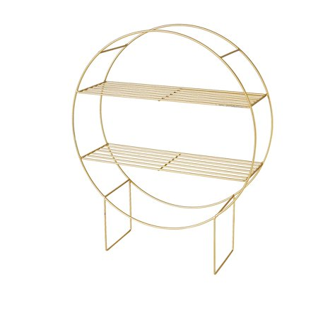 Golden Circle Shelf Rack, 2 Attached Shelves, Iron, 19.75 Inches Diameter, 23 .5 Inches Tall, 6 Inches Deep, Floor Rack Stand Tall Iron Stand