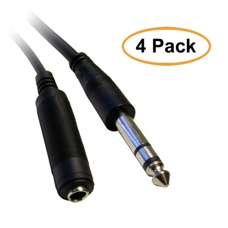 C&E 1/4 Inch Stereo Extension Cable, TRS, Balanced, 1/4 Inch Male to 1/4 Inch Female, 6 Feet, 4 Pack