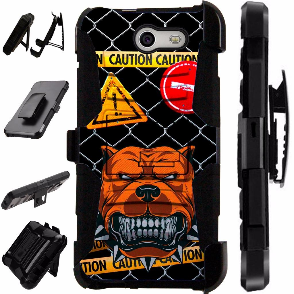 For Samsung Galaxy J7V / Galaxy Halo / J7 Prime / J7 Perx / J7 Sky Pro / J7 J727 Case Hybrid Armor Dual Layer Cover Stand Rugged LuxGuard Holster (Mad Dog Caution)
