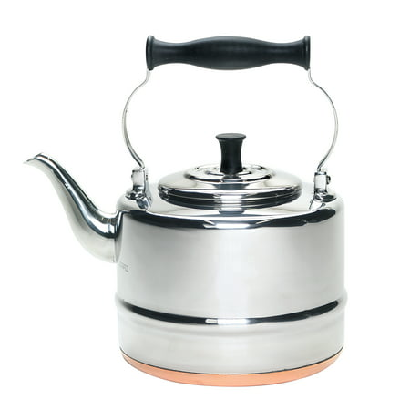 BonJour(r) Tea Stainless Steel and Copper-Base Gooseneck Teapot / Teakettle, 2-Quart