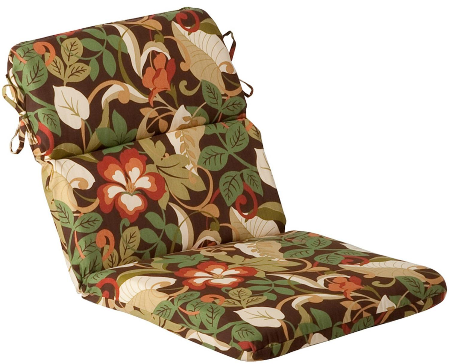 Outdoor Patio Furniture High Back Chair Cushion Floral Cafe