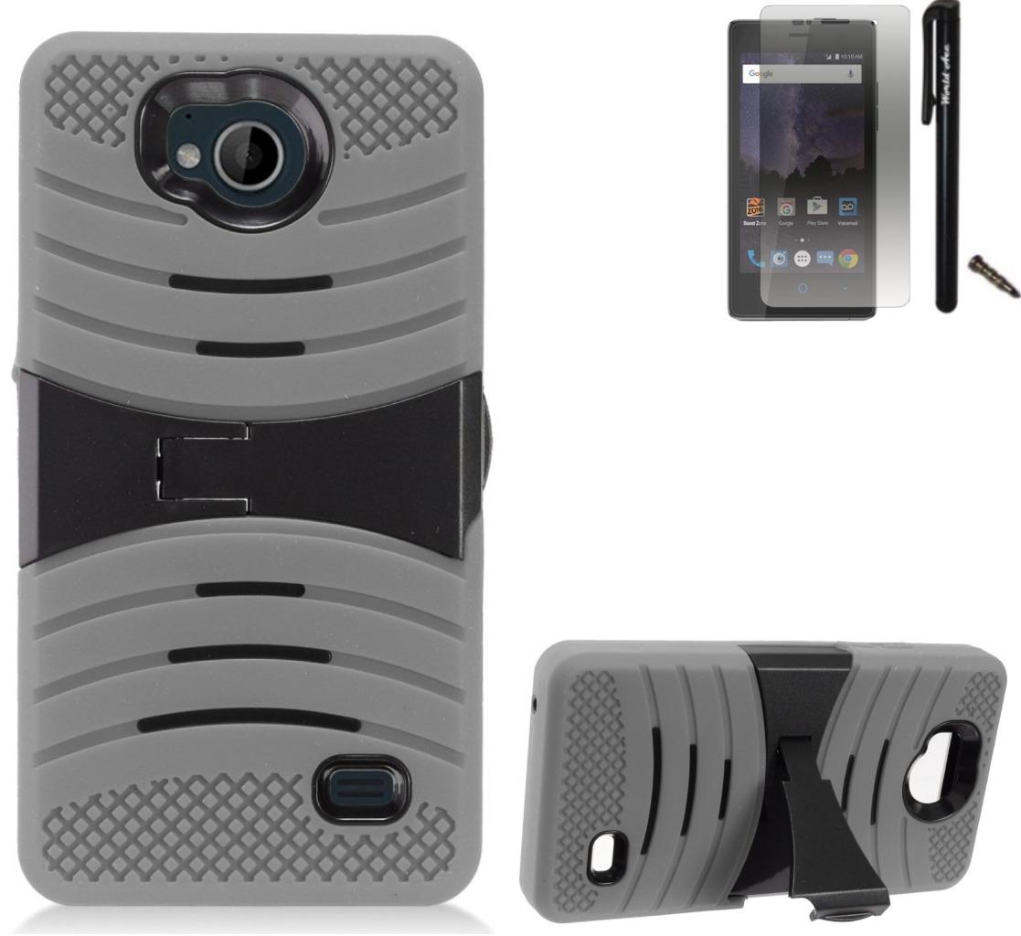 For ZTE Tempo N9131 Case / ZTE Majesty Pro LTE Case Symbiosis Armor Hybrid Silicone Phone Cover Plastic w/ Curve Stand Combo Pack (Black/Grey)