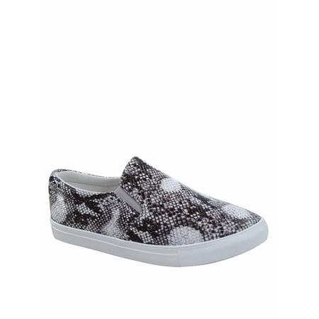 Design-1 Fashion Colors Prints Comfort Slip On Round Toe Flat Sneaker Shoes (La Lights Shoes)