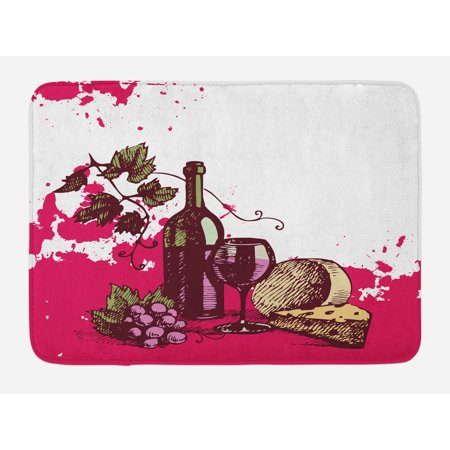 Wine Bath Mat, Vintage Sketchy Artwork Cheese Alcoholic Drink Fruit Abstract Design, Non-Slip Plush Mat Bathroom Kitchen Laundry Room Decor, 29.5 X 17.5 Inches, Hot Pink Olive Green Cream, Ambesonne