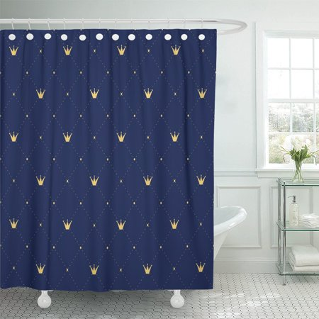 PKNMT Best Navy Blue in Retro Gold Crown Premium Royal Polyester Shower Curtain 60x72 inches ()