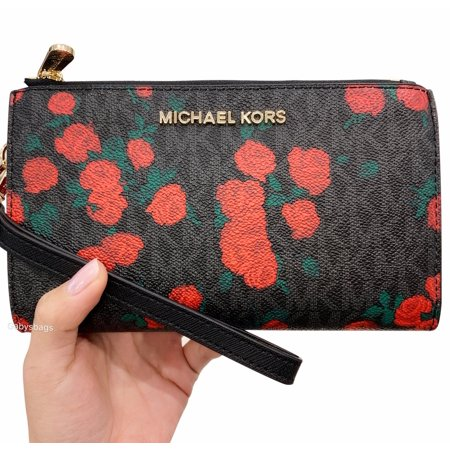65c1d74c7938 Michael Kors - Michael Kors Jet Set Double Zip Wristlet Phone Wallet Black  MK Signature Rose - Walmart.com