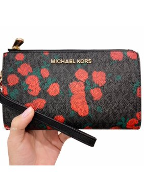 14778a154de10 Product Image Michael Kors Jet Set Double Zip Wristlet Phone Wallet Black  MK Signature Rose