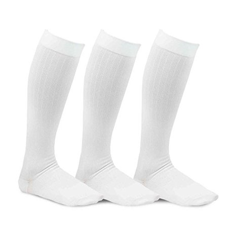 a44d3643c TeeHee Viscose from Bamboo Compression Knee High Socks with Rib 3-Pack  (Large (10-13)