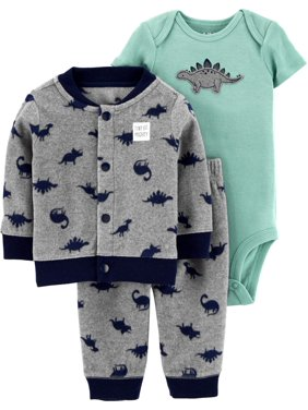 Child of Mine by Carter's Baby Fleece Cardigan Jacket, Bodysuit & Pants, 3pc Outfit Set