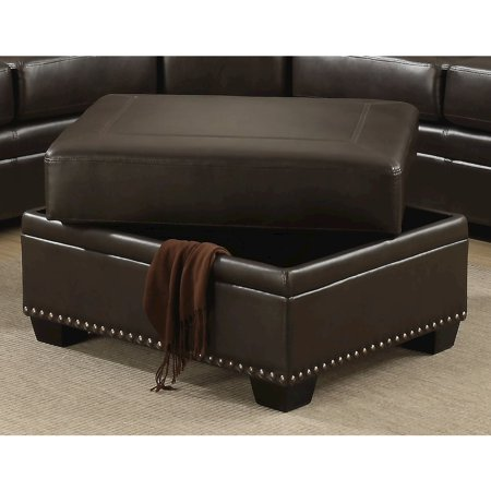 Louis Collection Traditional Upholstered Leather Storage Ottoman with Antique Brass Nail Head Trim, Brown