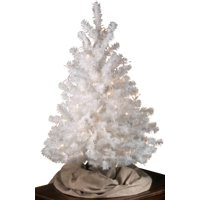 White All Seasons Decorative Evergreen Tree by Northwoods, 3' Height for Table Top or Shelf – Artificial Tree for Christmas, Holidays and Festive Events