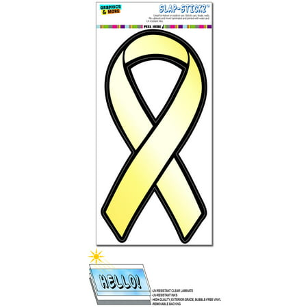Yellow Awareness Support Ribbon - Troops Armed Forces Bone Cancer Suicide Prevention SLAP-STICKZ(TM) Premium Sticker