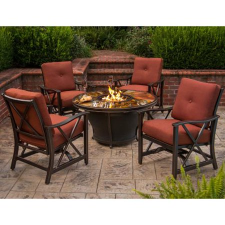 Image of Premium Sunlight 5-piece Chat Set with Gas Fire Pit Table, Glass Beads, Cover, Lazy Susan, Rocking Chairs and Cushions