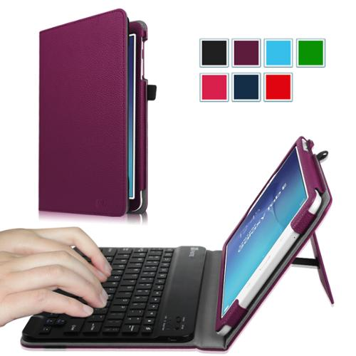 Fintie Case for Samsung Galaxy Tab E 9.6 Tablet - Smart Slim Shell Cover with Removable Bluetooth Keyboard, Purple