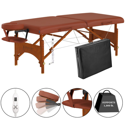 "Master Massage Fairlane Therma-Top 28"" Portable Massage Table Package, Cinnamon, Adjustable Heating System"