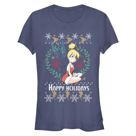 Peter Pan Juniors' Ugly Christmas Sweater Tinker Bell T-Shirt (Peter Pan Tinkerbell)