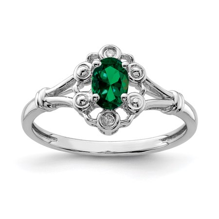 925 Sterling Silver Created Green Emerald Diamond Band Ring Size 10.00 Birthstone May Gemstone Set Fine Jewelry For Women Gift Set