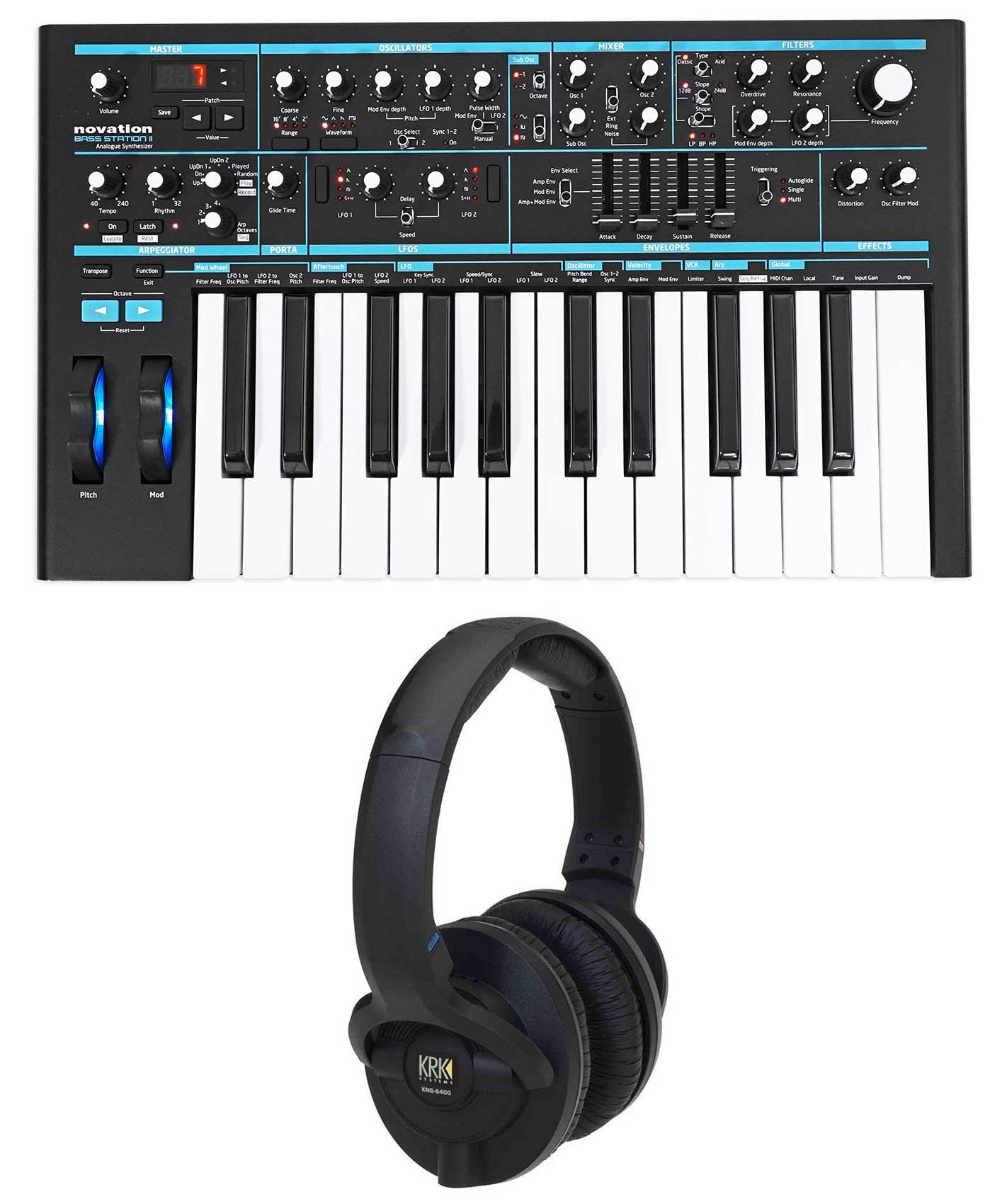Novation BASS STATION II 25-Key Analog Keyboard USB Synthesizer + KRK Headphones by NOVATION