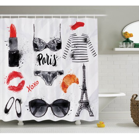 Paris City Decor Shower Curtain Set, Various Symbols Of Eiffel Tower Glasses Grubnoy Lipstick Shoes Lingerie Accessories, Bathroom Accessories, 69W X 70L Inches, By Ambesonne