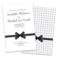 Black and White Bow Personalized Wedding Reception Invitations