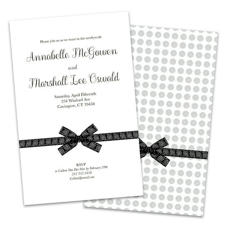 Black and White Bow Personalized Wedding Reception Invitations](Black And White Wedding Invitations)