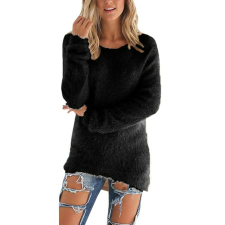 Women Velvet Fluffy Sweater Jumper Sweatshirt Long Sleeve Pullover Tops Blouse ()