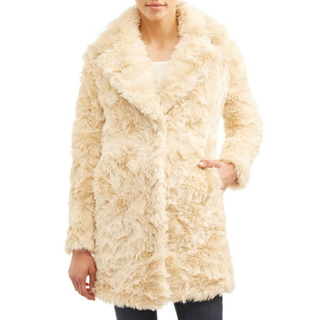 Kendall + Kylie Women's Long Faux Fur Coat with Shag Fur Detail