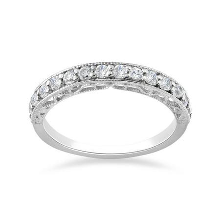 1/2ct Vintage Diamond Wedding Ring 14K White Gold
