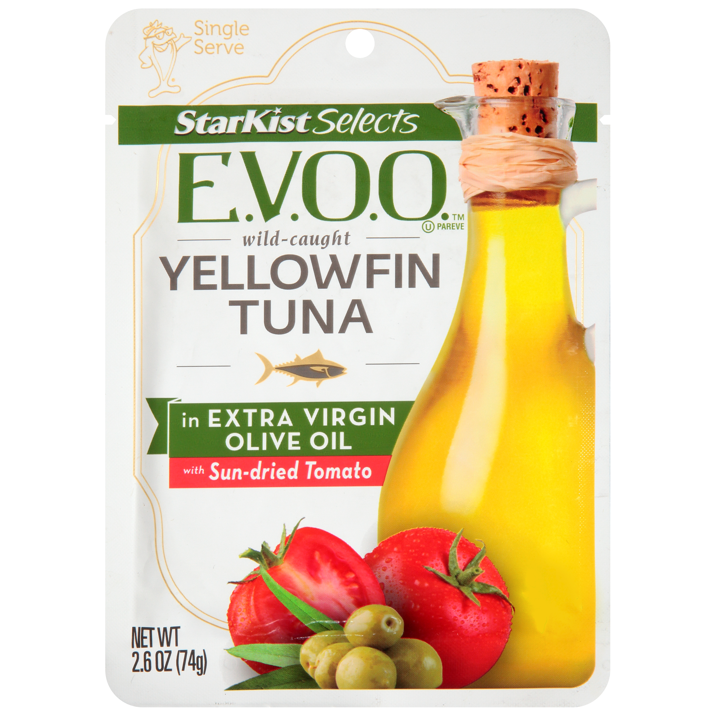 StarKist Selects Yellowfin Tuna in Extra Virgin Olive Oil with Sun-Dried Tomato, 2.6 oz Pouch