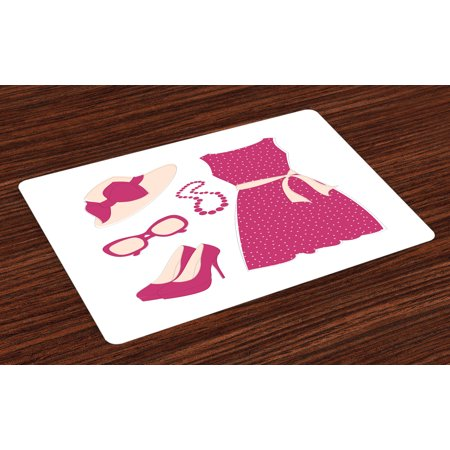 Colored Heel - Fashion Placemats Set of 4 Pastel Colored Dress Hat with a Ribbon High Heels and Necklace Woman Clothing, Washable Fabric Place Mats for Dining Room Kitchen Table Decor,Pale Peach Pink, by Ambesonne