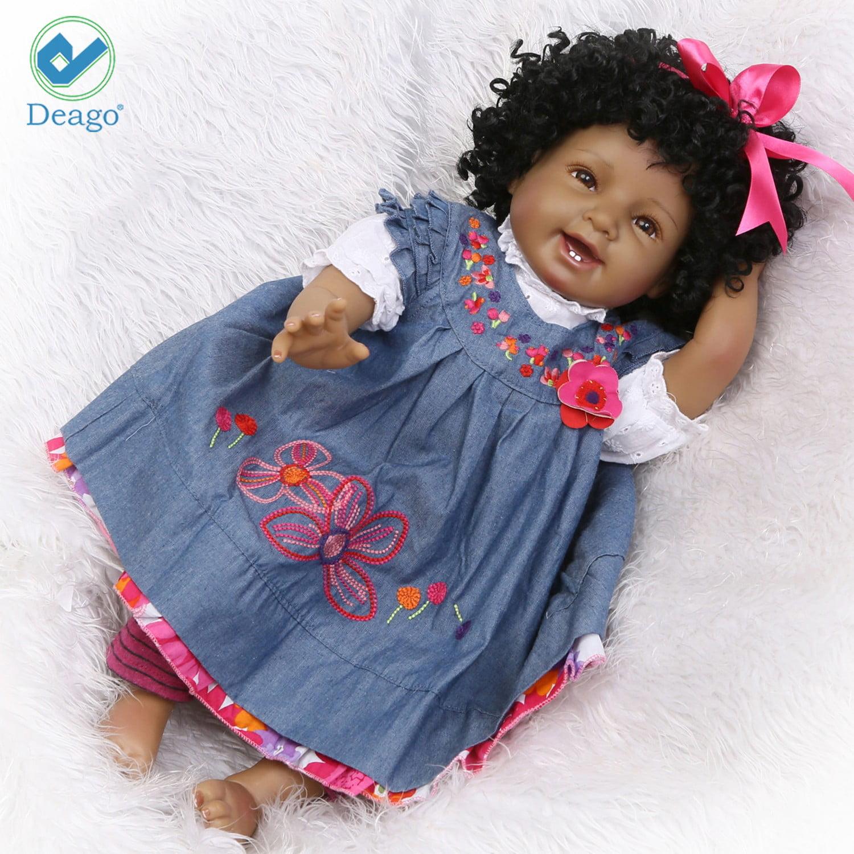 """Deago Reborn Baby Doll 22 """" Realistic Soft Silicone Vinyl Dolls Newborn Black Baby Dolls African American... by Deago"""