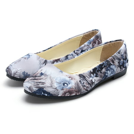 Meigar Sole Classic Fancy Women's Casual Loafers Floral Pointed Toe Ballet Comfort Soft Slip On Flats (Comfort Flat Shoes)