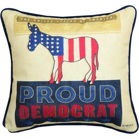 Proud Democrat - The United States of America Proud Pillow with Donkey 12 x 12 - Democrat Donkey