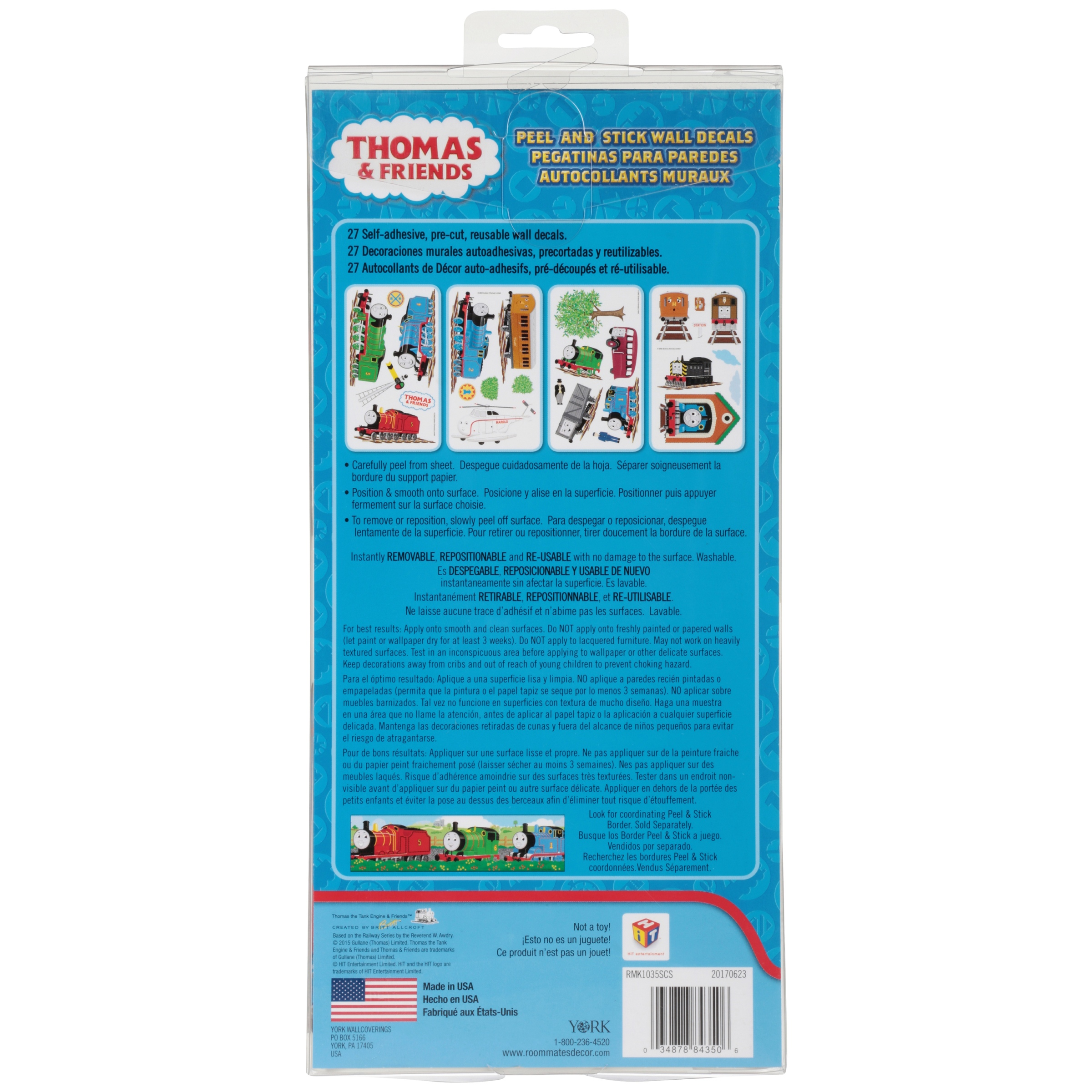 Thomas U0026 Friends Peel And Stick Wall Decals 27 Ct Pack   Walmart.com