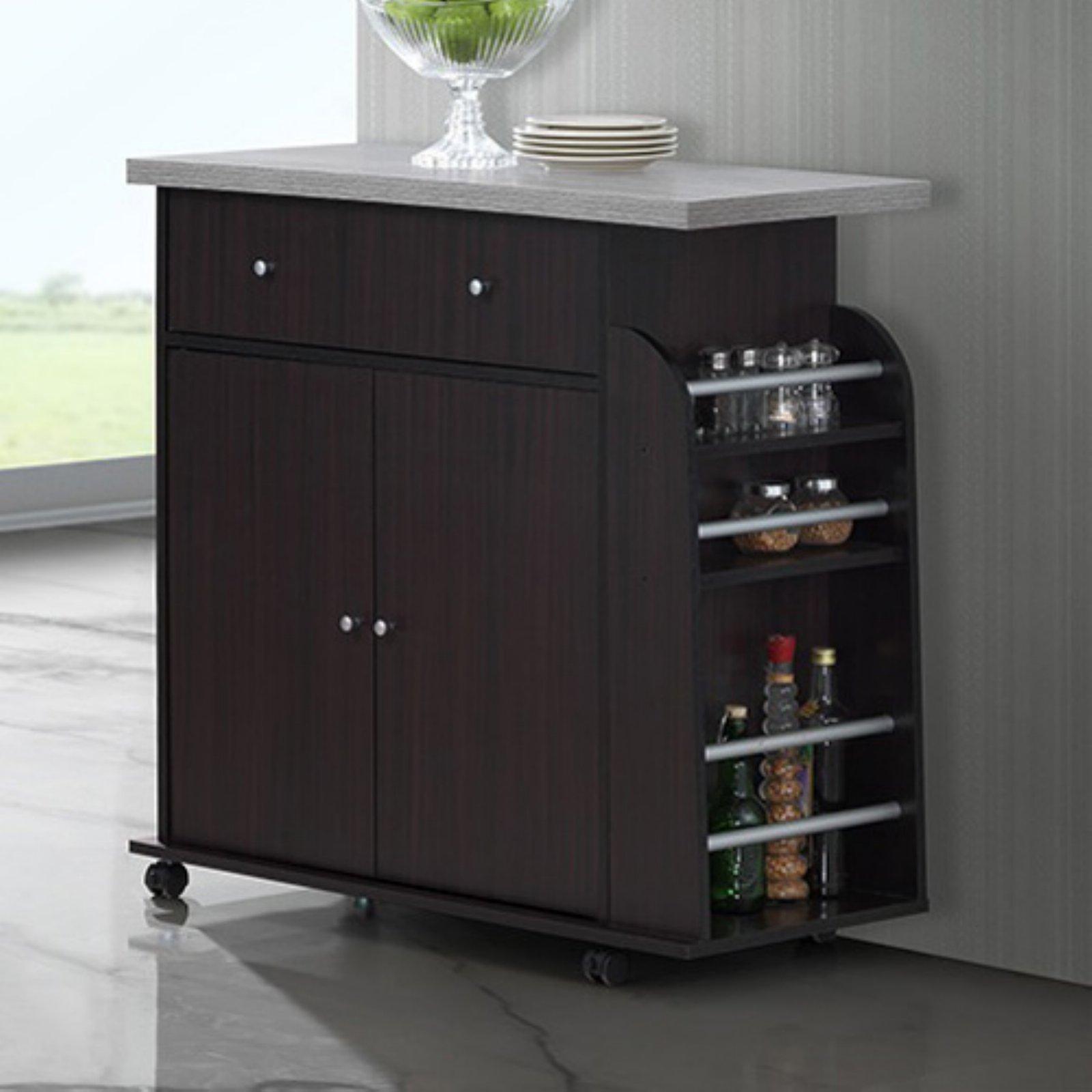 Hodedah Kitchen Island Cabinet Drawer Storage With Spice