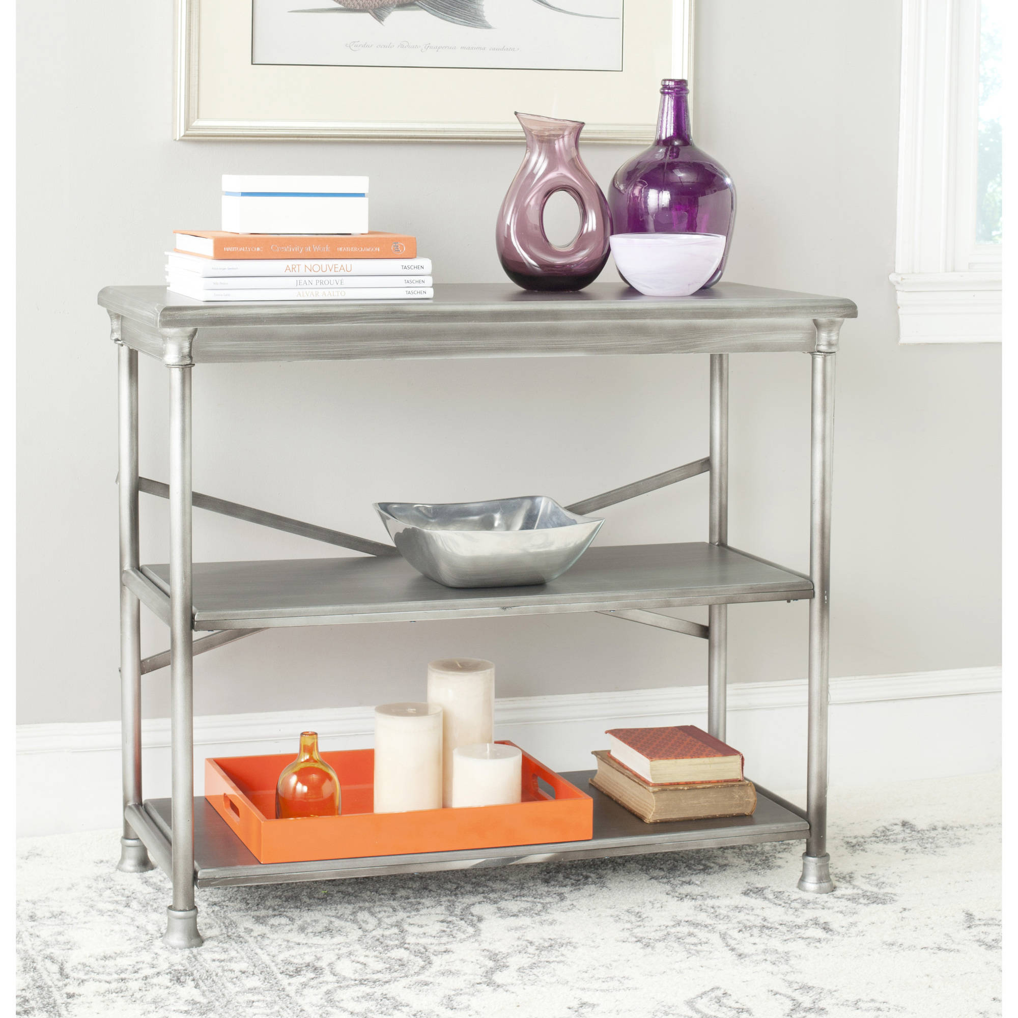 Safavieh Jacinda Medium Bookcase, Dark Silver