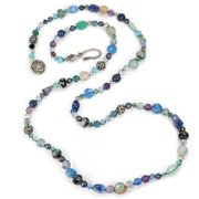 Sweet Romance Gemstone Beads and Pearls Amethyst Long Necklace Ocean Blues