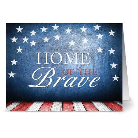 24 Patriotic Note Cards - Home of the Brave - Blank Cards - Red Envelopes Included