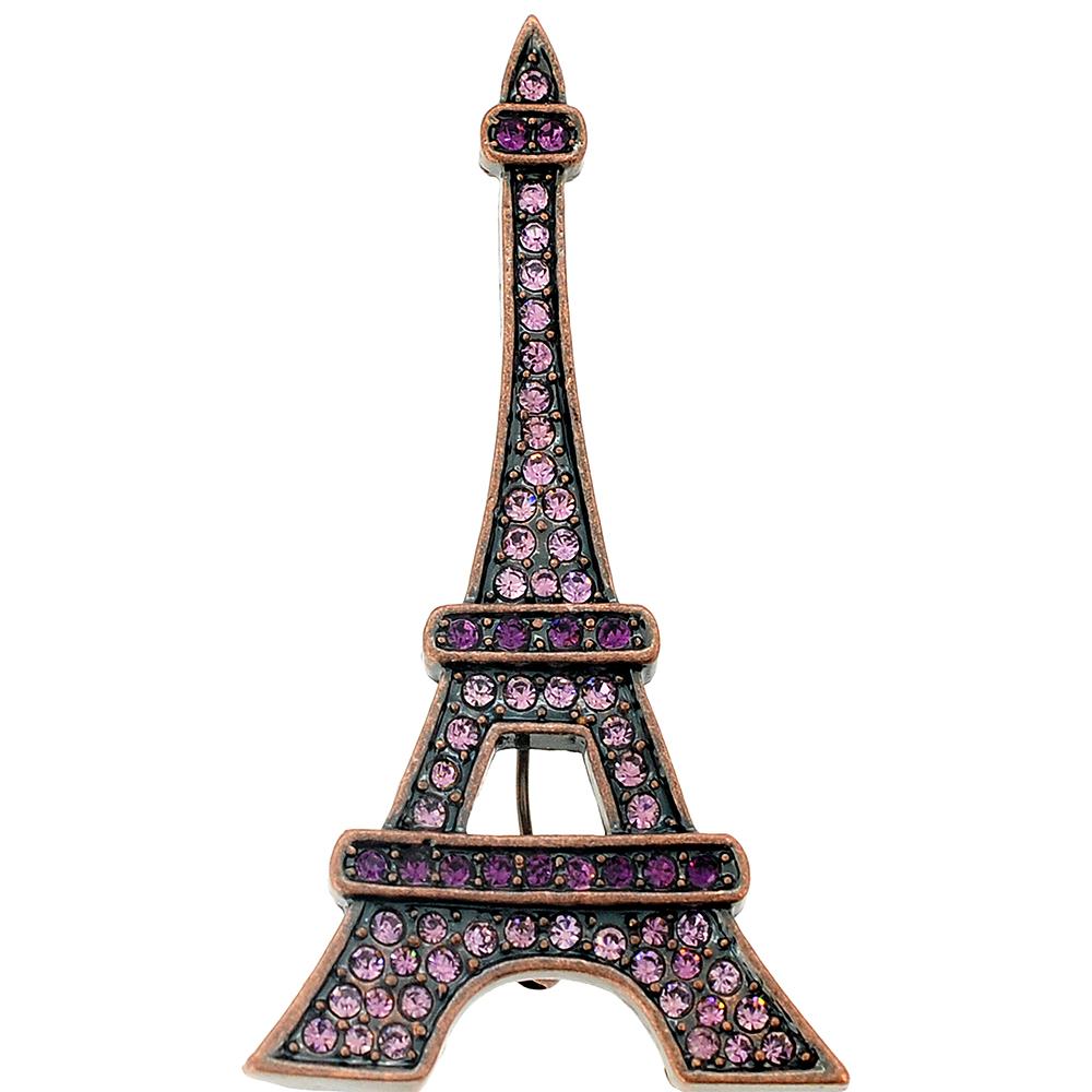 Amethyst Purple Paris Eiffel Tower Crystal Brooch and Pendant by