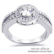 Gorgeous 1.25 Ctw Round VS G-H Moissanite 925 Sterling Silver Halo Ring for Women's By Orchid Jewelry