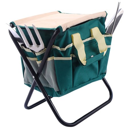 Gymax 7PC Stainless Steel Garden Tool Bag Set Folding Stool