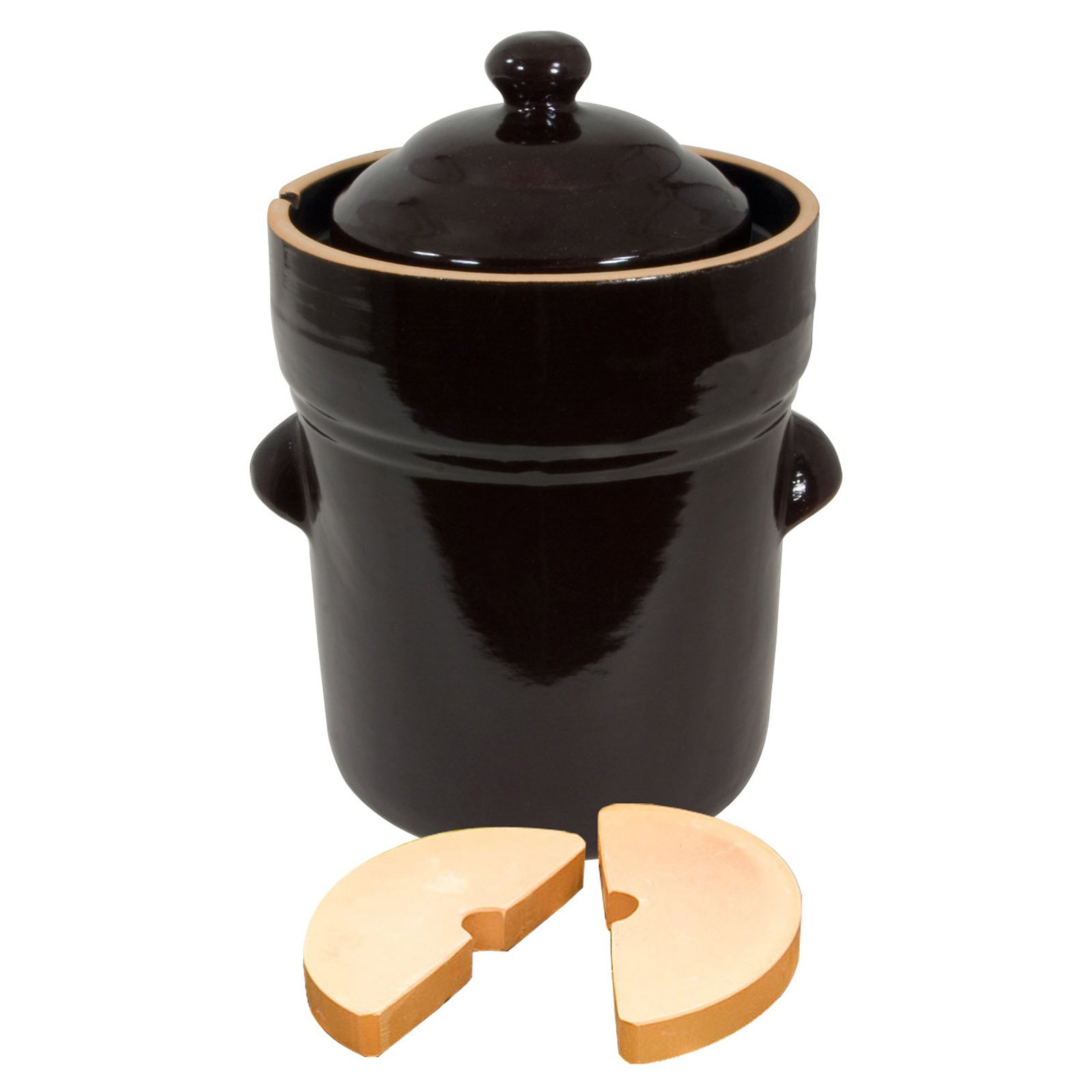 TSM Products Fermentation Crock with Stone Weight - 4 gal.