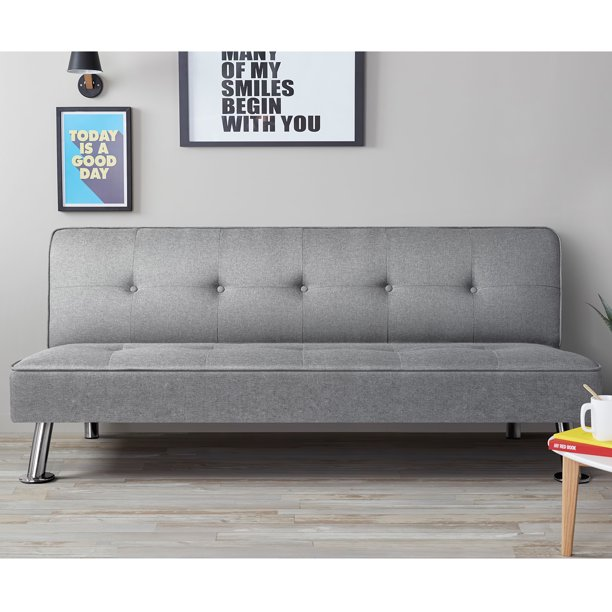 VINEEGO Upholstered Convertible Folding Linen Futon Sofa Bed for Living Room, Gray