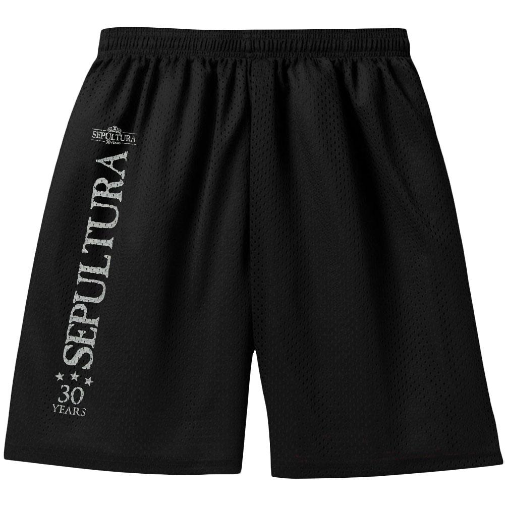 Sepultura Men's  30 Years Logo Gym Shorts Black