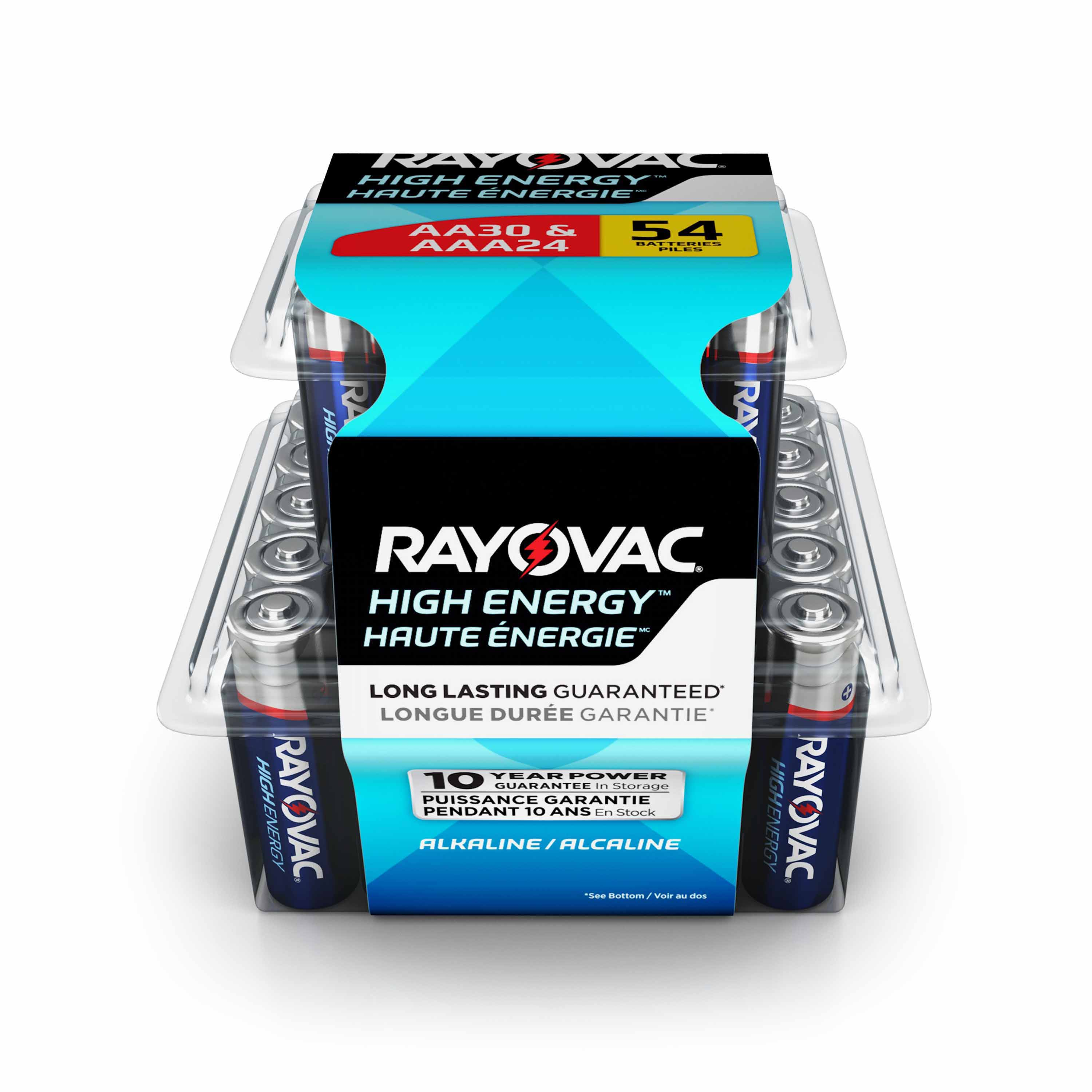 Rayovac High Energy Batteries 54- Multipack AA & AAA Batteries, 30 AA Batteries Plus 24 AAA Batteries, AL-54PP GENK