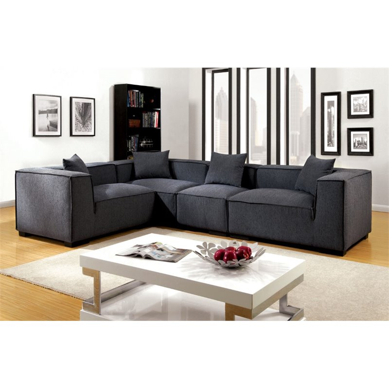 Furniture of America Rankin Fabric Upholstered Sectional in Gray