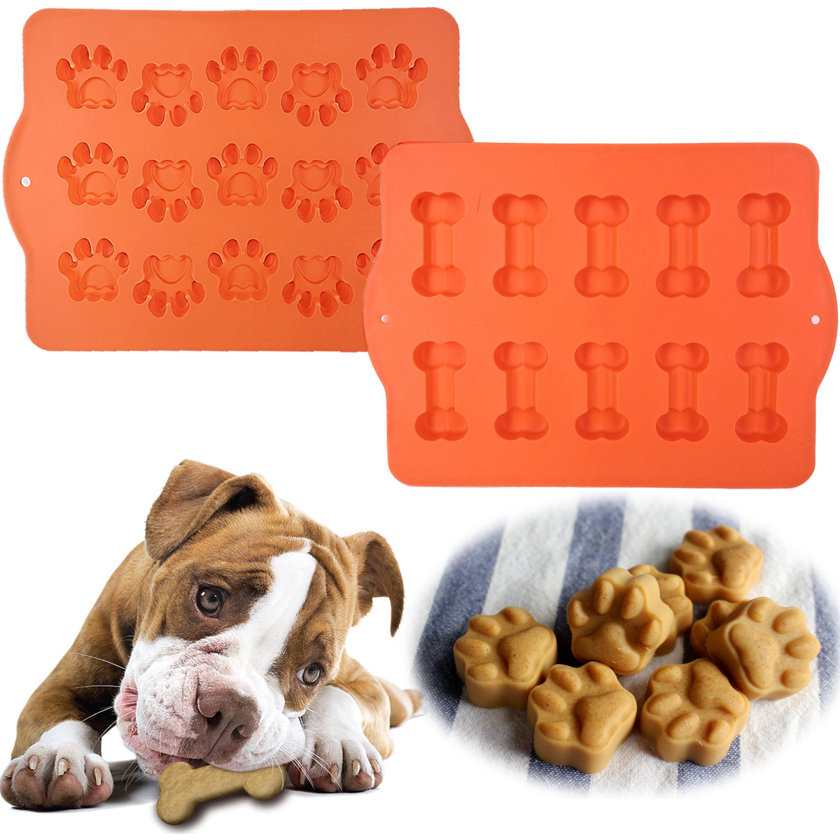 Hugs (2 Pack) Silicone Baking Molds For Pets (1 Bone Tray & 1 Paw Print Tray), Ice Cube Trays, Freezer Tray Or Oven SHeet, Silicone Dog... by Hugs