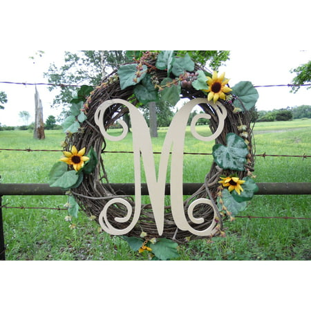 Wooden Letter Vine (M) Unfinished Wood Craft Letter, Paintable Wall Decor